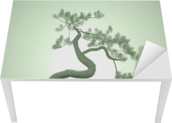 Sticker pour table et bureau Bonsaï asiatique sur le vert