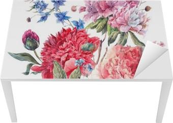 Sticker pour Table et Bureau Carte de voeux florale vintage avec Blooming Pivoines