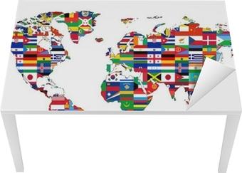 Sticker pour table et bureau Carte du Monde with drapeaux