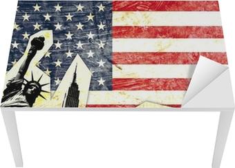 Sticker pour table et bureau Drapeau américain statue with de la liberté de taxi jaune