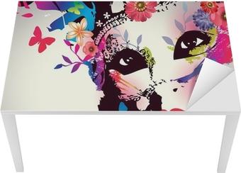 Sticker pour table et bureau Fille avec le masque / Vector illustration