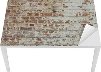 Sticker pour Table et Bureau Fond de vieux mur de brique sale vintage avec du plâtre pelage