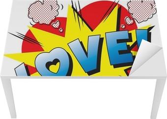 Sticker pour table et bureau Love Explosion de bande dessinée. Tomber en amour. Amour feu d'artifice.