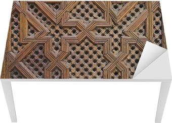 Sticker pour table et bureau Marocaine en bois de cèdre Arabesque Carving