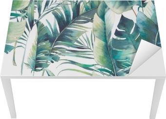 Sticker pour table et bureau Palmiers d'été et banane feuilles modèle sans couture. texture aquarelle avec des branches vertes sur fond blanc. conception de papier peint tropical dessinés à la main