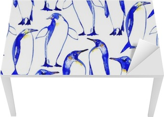 Sticker pour Table et Bureau Penguins seamless main pattern.Watercolor illustration tirée.