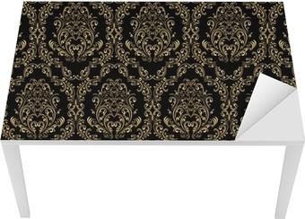 Sticker pour table et bureau Seamless retro papier peint dans un style victorien: l'or sur le noir.