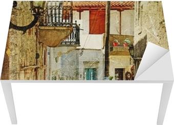 Sticker pour table et bureau Vieilles rues grecques et artistique image