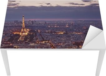 Sticker pour table et bureau Vue de nuit de Paris.