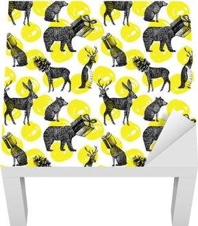 Sticker pour Table Lack Animaux d'hiver dessinés à la main fond transparent