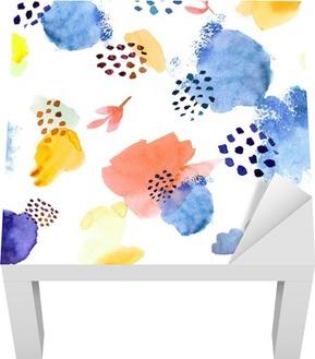 Sticker pour Table Lack Aquarelle seamless, modèle de mode dot memphis, lumineux de