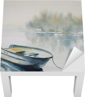 Poster Aquarelle Sur Papier D Un Paysage Avec Un Bateau En Bois Sur La Riviere Couverte De Brouillard Pixers Nous Vivons Pour Changer