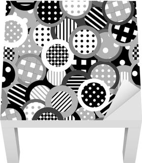 Sticker pour table Lack Fond noir et blanc avec des cercles