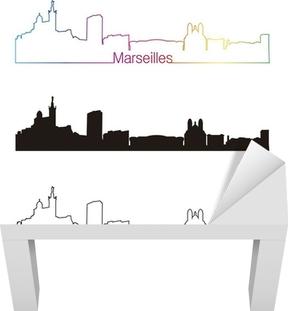 Sticker pour table Lack Marseille horizon style linéaire avec arc en ciel