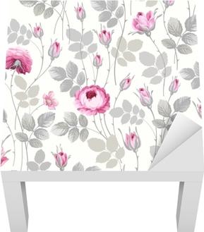 Sticker pour table Lack Motif floral sans couture avec des roses dans des couleurs pastel