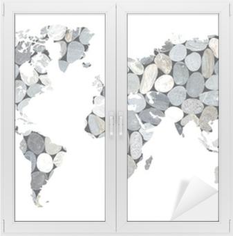 Sticker pour vitres et fenêtres Carte du monde galets, fond blanc