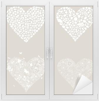 Sticker pour vitres et fenêtres Coeur concevoir un element3