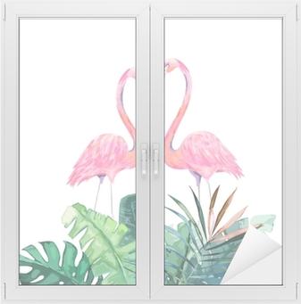Sticker Pour Porte Couple De Flamants Roses Impression Tropicale