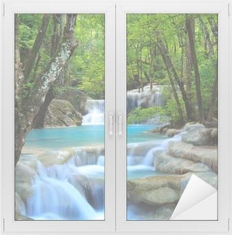 Sticker Vitre Erawan Waterfall, Kanchanaburi, Thaïlande
