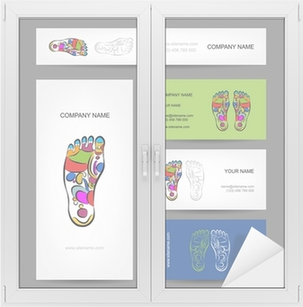 Sticker Les Cartes De Visite Conception Massage Reflexologie Plantaire O PixersR