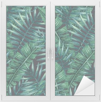Sticker Vitre Paume tropical Aquarelle feuilles seamless pattern. Vector illustration.