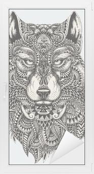 Sticker Vitre Très résumé détaillé loup illustration