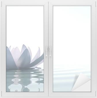 Sticker pour vitres et fenêtres Zen fleur loto dans l'eau