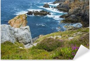 Pixerstick Sticker Prachtige kust kliffen in Bretagne Frankrijk