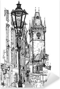 Prague, Czech Republic - a vector sketch Pixerstick Sticker