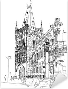 Sticker Pixerstick Prague - Tour Poudrière et la Maison Municipale. Vecteur architectural dr