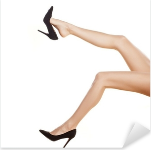 pretty female legs in black shoes with high heels on white Pixerstick Sticker