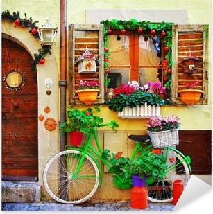 pretty streets of small italian villages Pixerstick Sticker