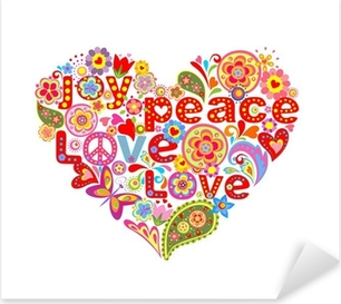 Print with colorful hippie floral heart Pixerstick Sticker