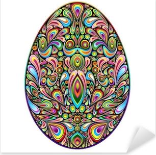 Sticker Pixerstick Psychedelic Art Design Easter Egg Easter Egg ornementale