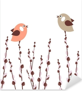 Pussy willow branches with small stylized birds Pixerstick Sticker