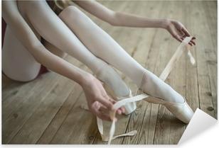 putting on ballet shoes Pixerstick Sticker
