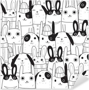 rabbit seamless pattern Pixerstick Sticker