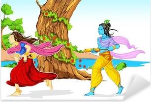 Radha Krishna Playing Holi Pixerstick Sticker