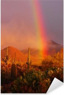 Rainbow sunset at the Saguaro National Park, Arizona, USA Pixerstick Sticker