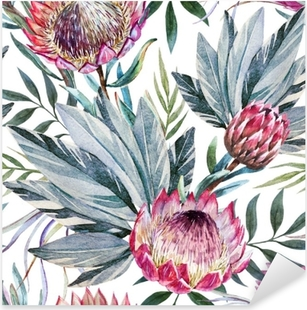 Raster tropical protea pattern Pixerstick Sticker