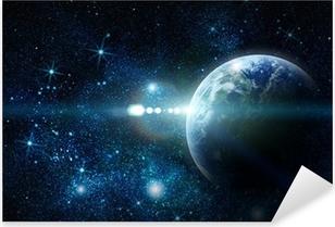 Pixerstick Sticker Realistisch planeet aarde in de ruimte