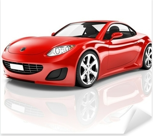 Red 3D Sport Car Pixerstick Sticker