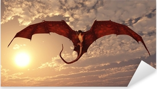 Red Dragon Attacking from a Sunset Sky Pixerstick Sticker