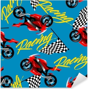 Red motorcycle racing with checkered flag seamless pattern Pixerstick Sticker