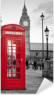 Red phone booth in London with the Big Ben in black and white Pixerstick Sticker