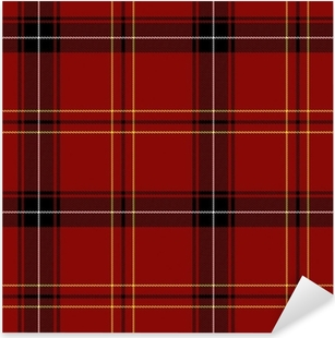 Sticker Pixerstick Red Tartan Seamless Pattern