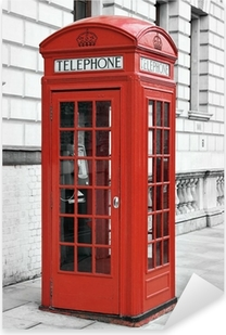 Red telephone booth in London, England Pixerstick Sticker