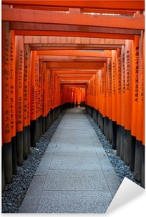 Pixerstick Sticker Red Tory bij Fushimi Inari Poort in Kyoto, Japan