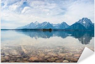Sticker Pixerstick Reflets du sommet de la montagne sur le lac