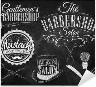 Sticker Pixerstick Réglez Barbershop, ciseaux, brosse de rasage, rasoir, bouteille, en ar